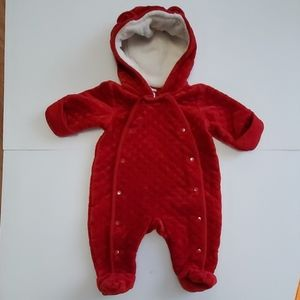 Plush red baby Nordstrom animal ears bunting